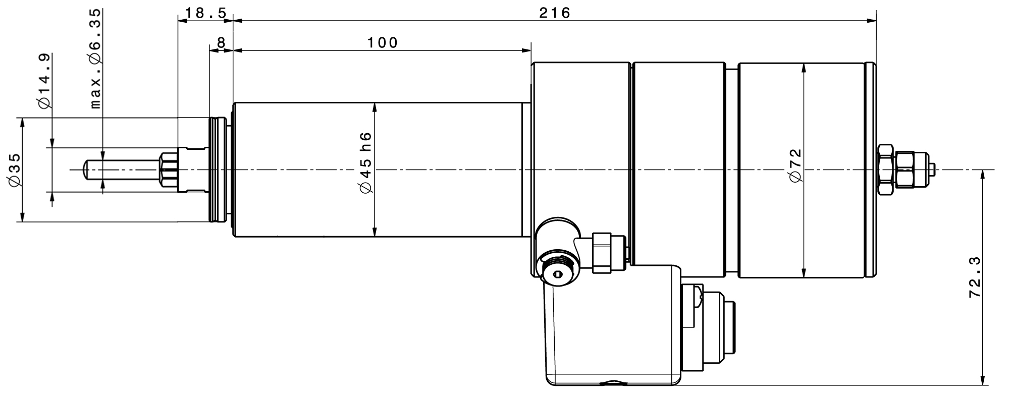 Type 4041 ESD-Router dimensions